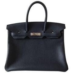 Hermes Handbag Birkin 35 Blue nuit/Rose pourpre Clemence Palladium Hardware