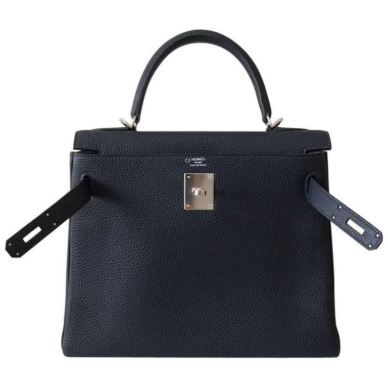 Hermes Handbag Kelly 28 Blue Nuit Clemence Palladium Hardware