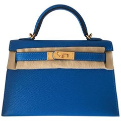 Hermes 20 Bag Kelly Blue Hydra chèvre ghw