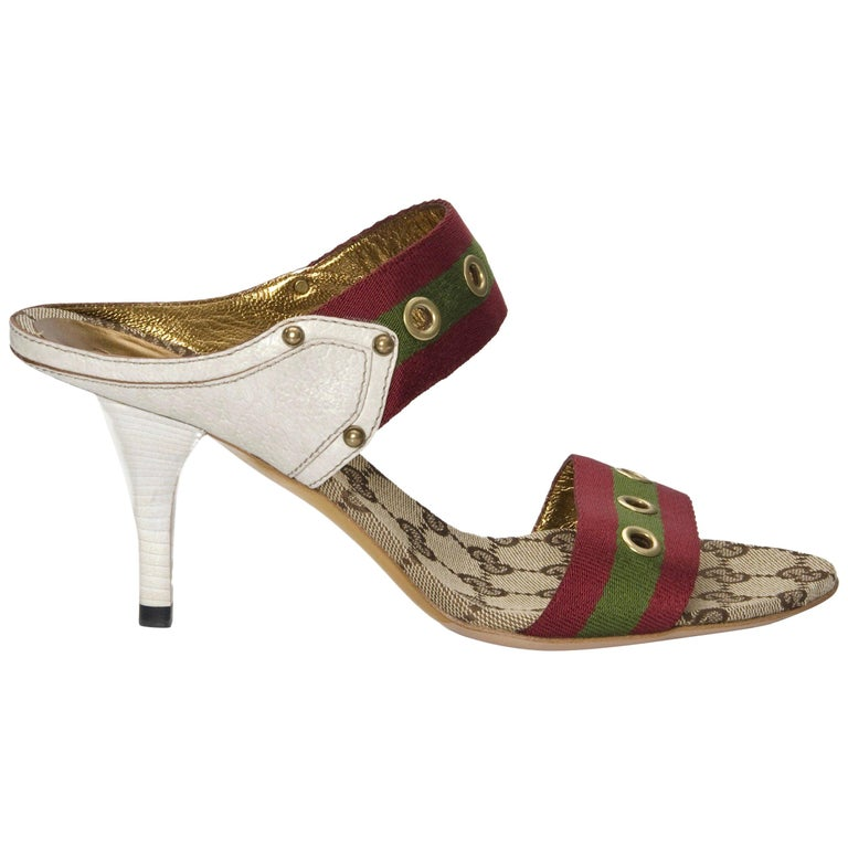 deb8075d915 New Gucci GG Logo Web Mules Heels Sz 37 For Sale at 1stdibs