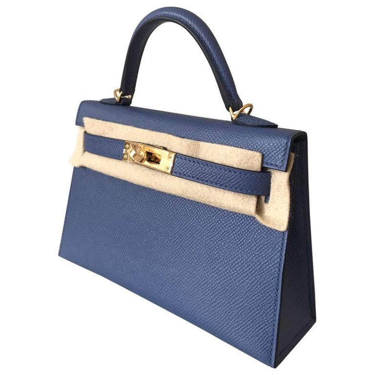 Hermes HandBag Kelly 20 Blue Brighton Epsom Gold Hardware