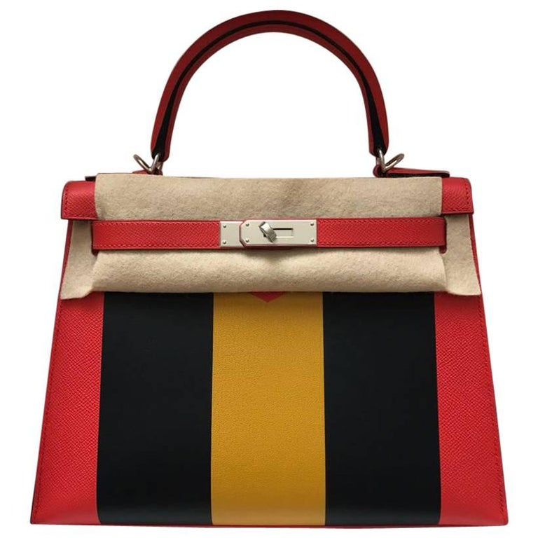 Hermes Limited Edition 28 Lettre M Epsom Palladium Hardware Kelly Handbag