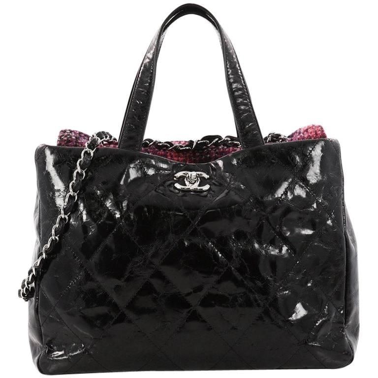 Chanel Portobello Tote Quilted Glazed Calfskin and Tweed Medium