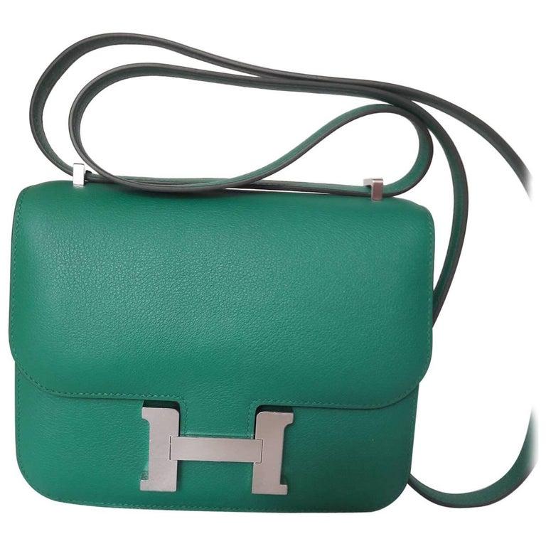 Hermes Constance Bag Vert Vertigo Mini Evercolor Palladium Hardware For