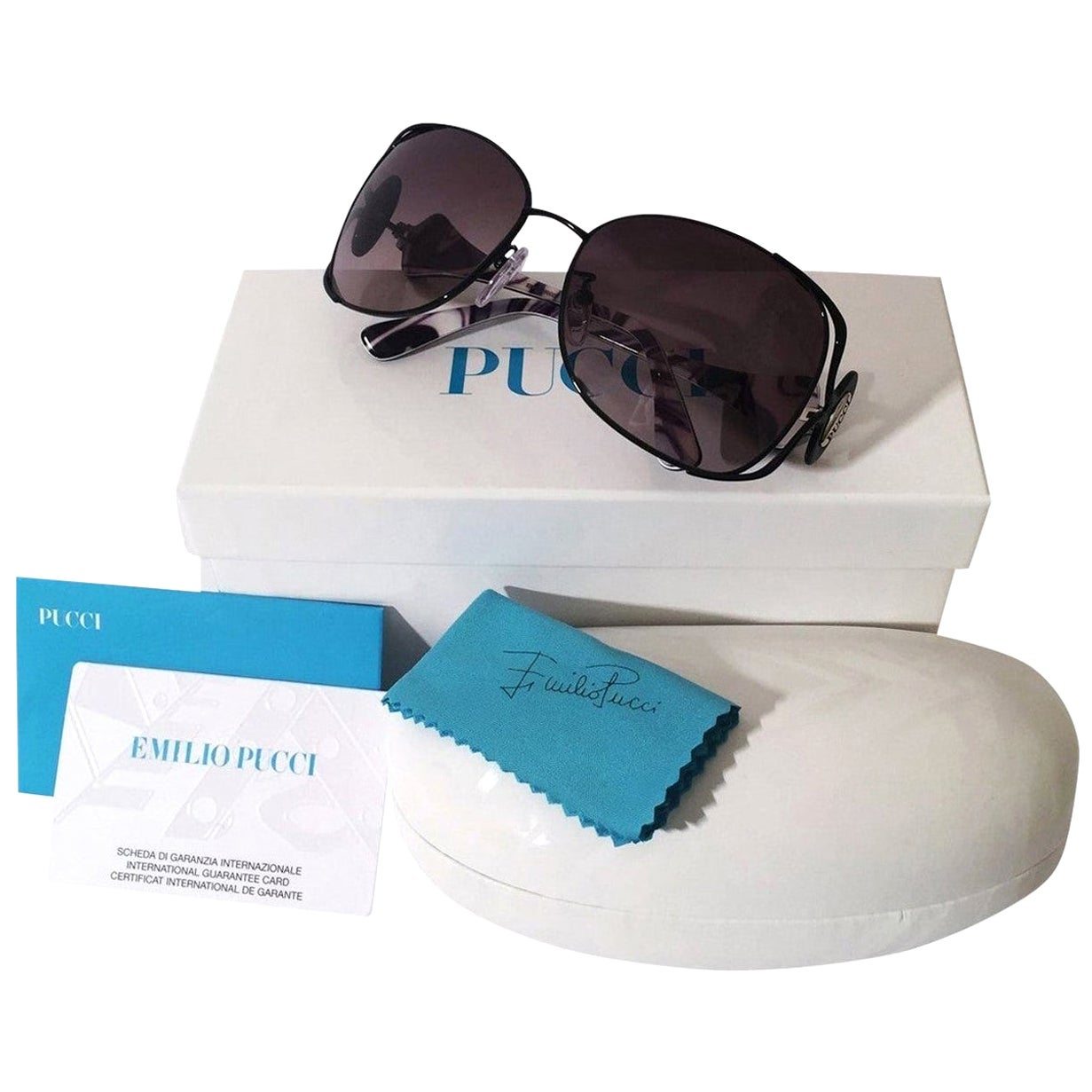 New Emilio Pucci Black Aviator Sunglasses With Case & Box