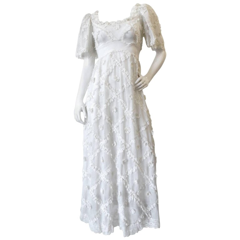 Cream Lace Ruffle Maxi Dress, 1970s