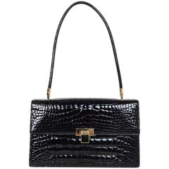 Gucci Vintage Black Crocodile Flap Bag with Dust Bag
