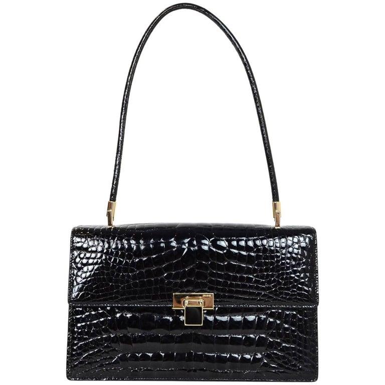Gucci Vintage Black Crocodile Flap Bag with Dust Bag