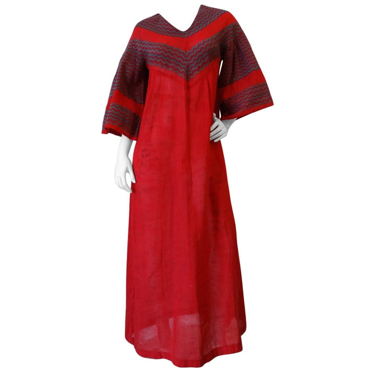 Rikma Red Chevron Bell Sleeve Dress, 1970s