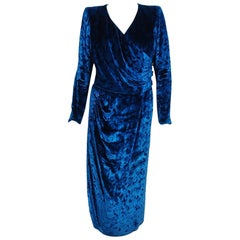 1990 Givenchy Haute-Couture Sapphire Blue Draped Silk Velvet Long Sleeve Dress