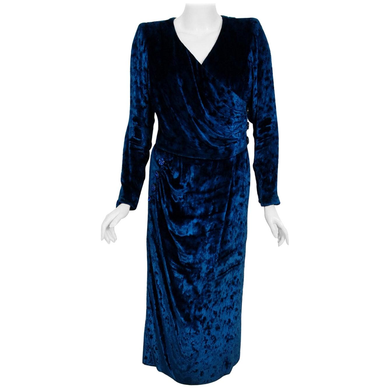 Vintage 1990 Givenchy Haute-Couture Sapphire Blue Draped Silk Velvet Dress