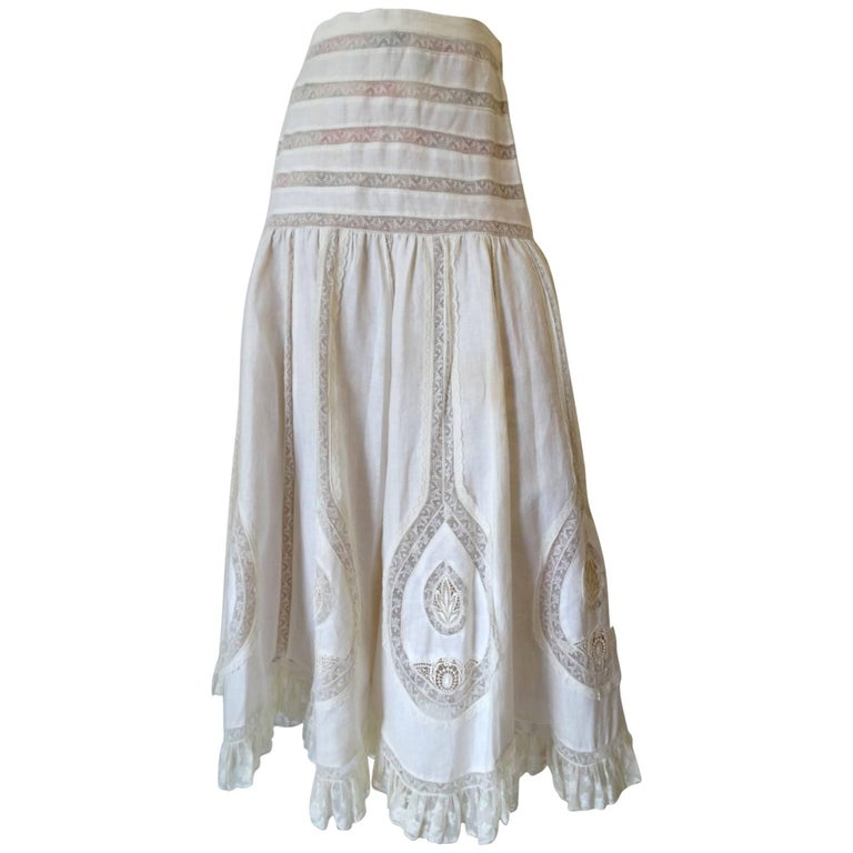 Yoly Munoz White Lace Maxi Skirt, 1980s