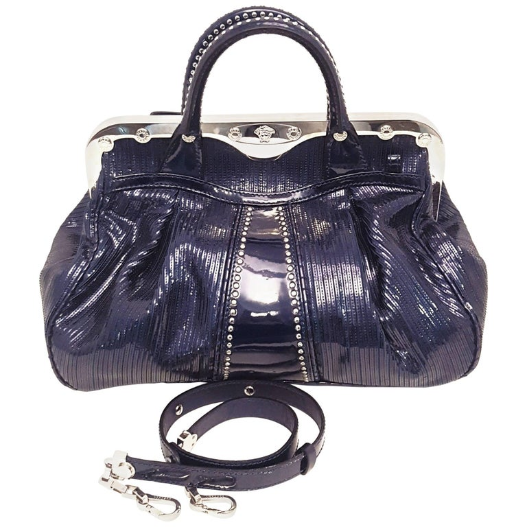 Versace Limited Edition Blue Glitz Patent Leather Satchel