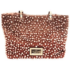 Valentino Faux Pearl Ombre Tote with Sequins on Satin