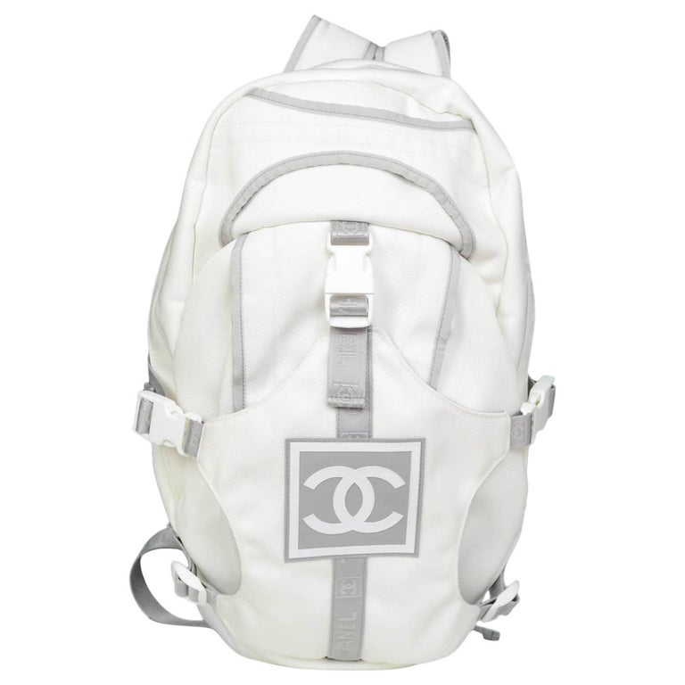 Chanel Sport White Canvas CC Backpack Bag with Dust Bag