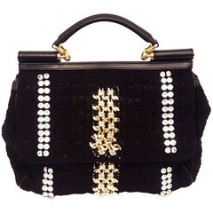 Dolce & Gabbana Black Crochet Crystal and Chain Decorated Top Handle Bag