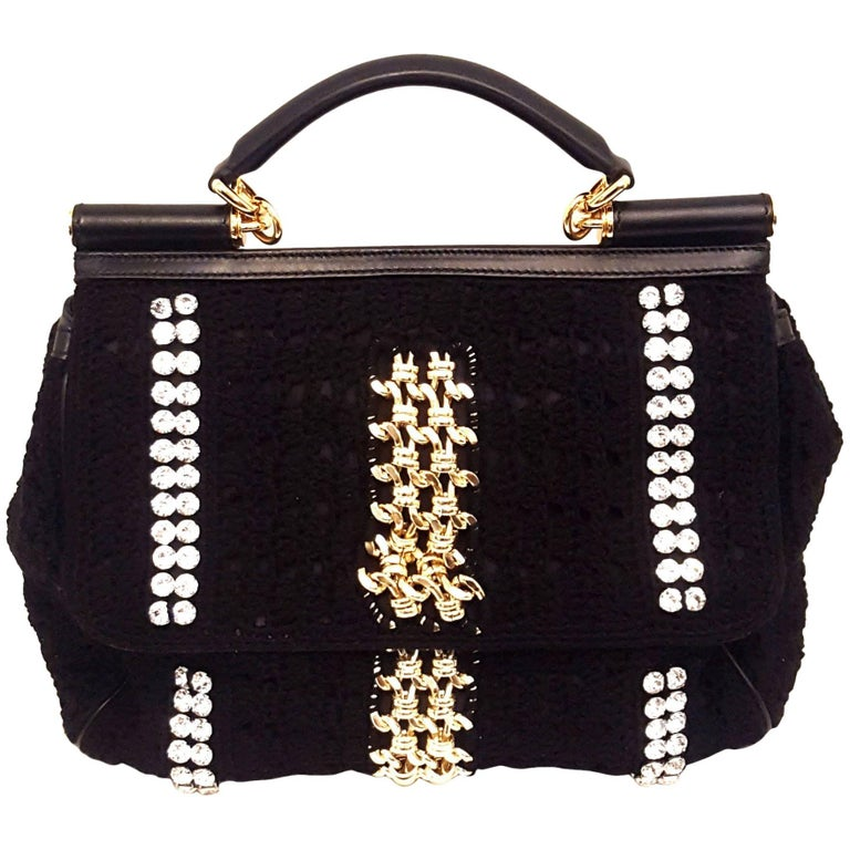 ef3261c1b0 Dolce and Gabbana Black Crochet Crystal and Chain Decorated Top Handle Bag  For Sale at 1stdibs