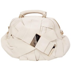 Versace Ivory Leather Venita Bow Satchel From the 2009 Spring Collection