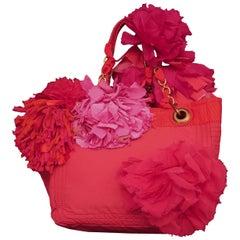 Lanvin Red Nylon Tote w/Chiffon, Silk & Grosgrain Cut Strips Flowers Decor