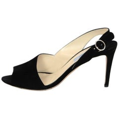Prada Black Suede d'Orsay Open-Toe Pumps Sz 39.5 with Box, DB