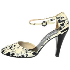Chanel Black & White Satin Coco d'Orsay Pumps Sz 38 with Box, DB