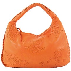 Bottega Veneta Hobo Leather with Intrecciato Detail Medium