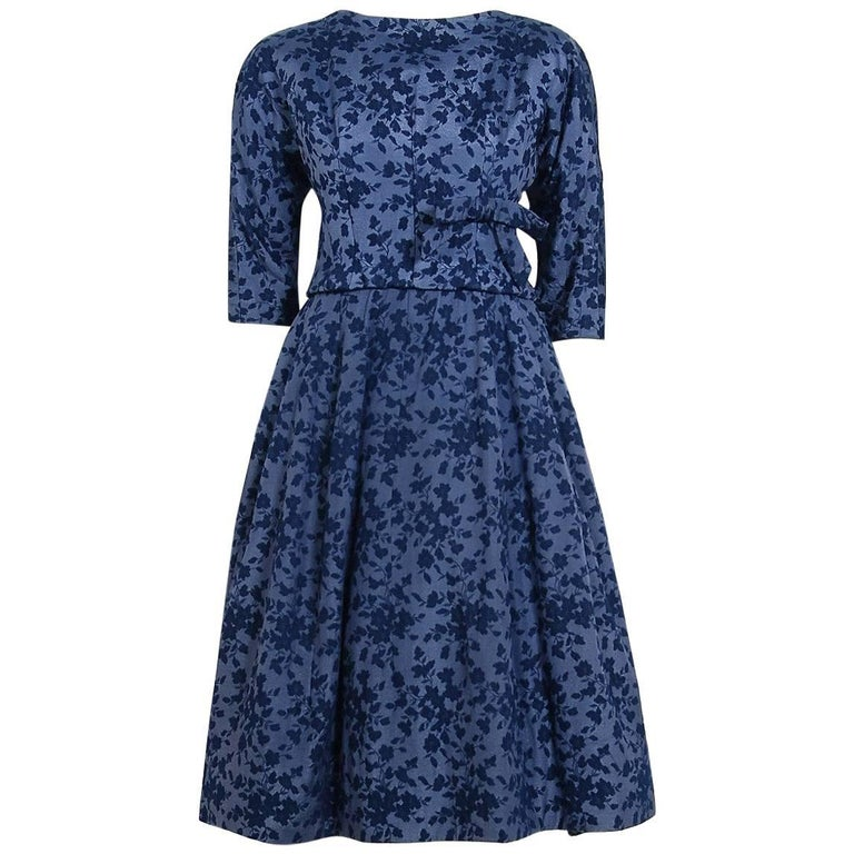 1958 Yves Saint Laurent for Christian Dior Demi-Couture Blue Floral Silk Dress