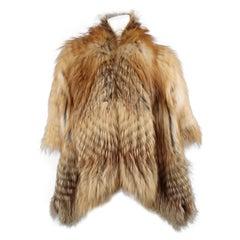 Fabio Gavazzi Red Fox Fur Wool Knit Draped Jacket Cape
