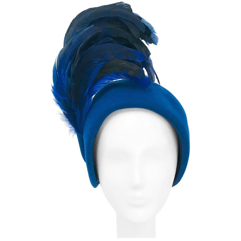 Adolfo II Royal Blue Felt Hat with Matching Cock Feathers, 1960s