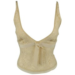 Prada Beige Cotton Blend Lace Bralette Dress Top