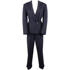 Ralph Lauren Navy Chalkstripe Wool Pleated Peak Lapel Jacket Pants Suit