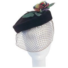 1950s Brown Velvet Cocktail hat with Multicolored Rose