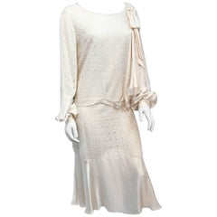 1920s Silk Cream Chiffon and Satin Dress