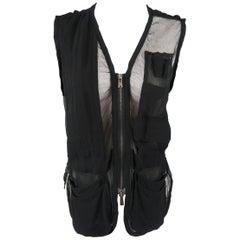 Yves Saint Laurent Black Mesh Silk Chiffon Pocket Zip Vest