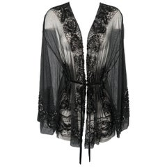 Collette Dinnigan Black Sequin Beaded Mesh Kimono Style Cardigan