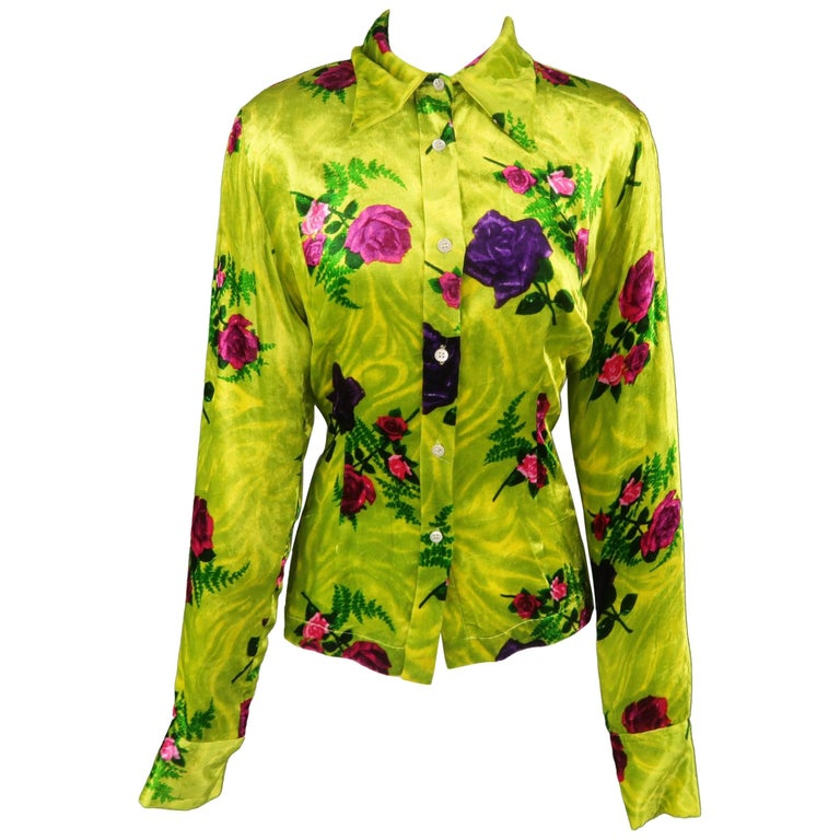 Dries van Noten Chartreuse Green Pink and Purple Rose Print Velvet Blouse