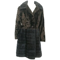 1960s Brown Faux Fur and Velvet Coat with Amber Colored Rhinestone Buttons