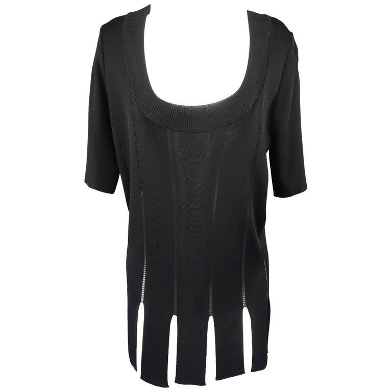 Claude Montana Black Burnout Stripe Scoop Neck Sweater Dress For Sale
