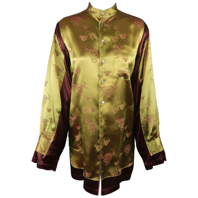 7acd7324e40 Jean Paul Gaultier Green Bull Satin and Red Striped Panel Oversized Blouse  For Sale