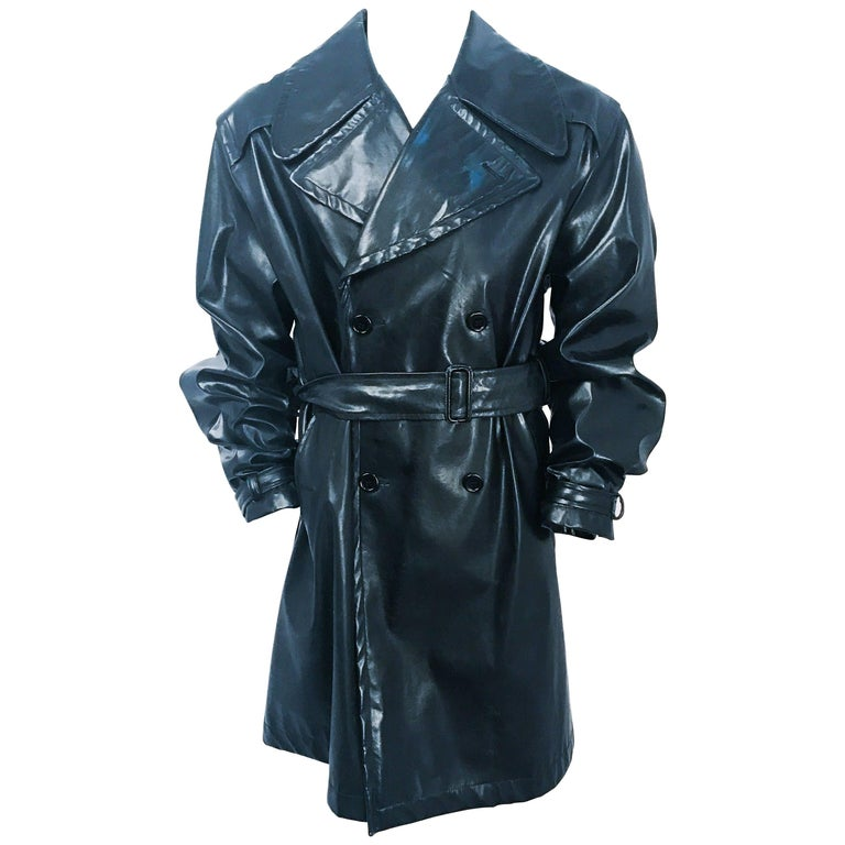 1990s Dolce and Gabbana Black Men's Leather Trench Coat
