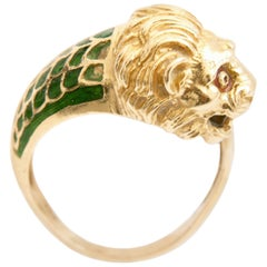 Roaring Lion Head Ring 18K Gold with Enamel Art Deco Figural Sz 6.5 1960s Rare