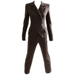 Sonia Rykiel Knit Pantsuit 2pc Brown Wool Numbered Haute Couture Sz M 1990s Rare