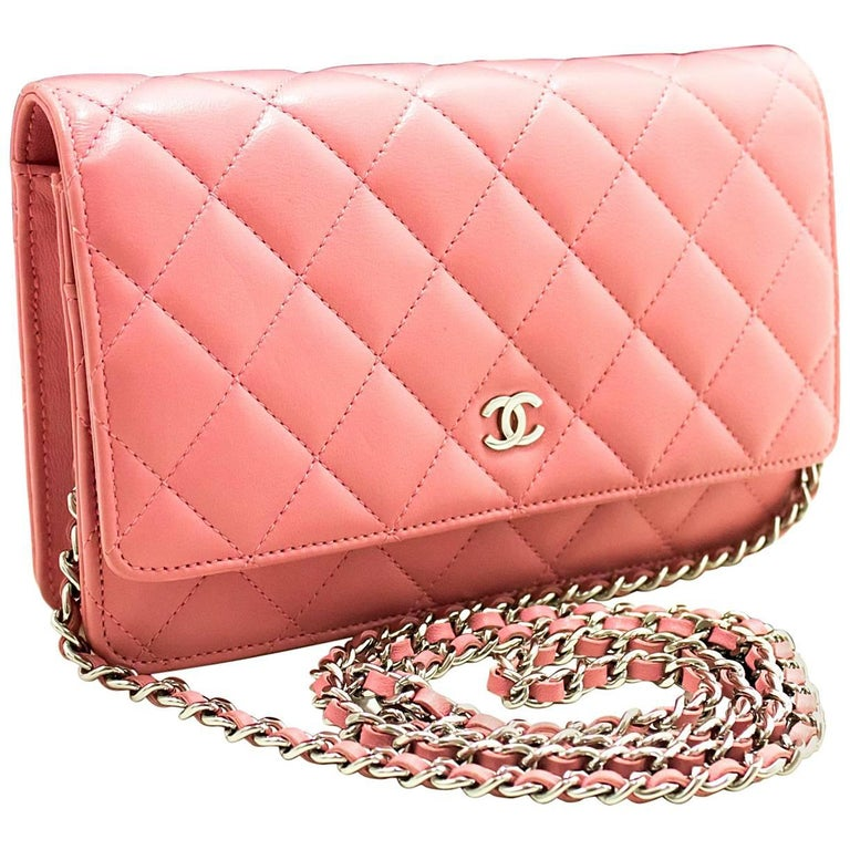 96aa0caa8a5e CHANEL Pink Wallet On Chain WOC Shoulder Bag Crossbody Clutch Lamb For Sale