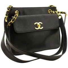 CHANEL Caviar Chain Shoulder Bag Black Leather Gold Hw CC Pocket