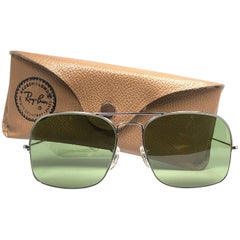99797b8762 New Rare Vintage Ray Ban 1978 Silver Rb3 Green Lens 58  B L Sunglasses
