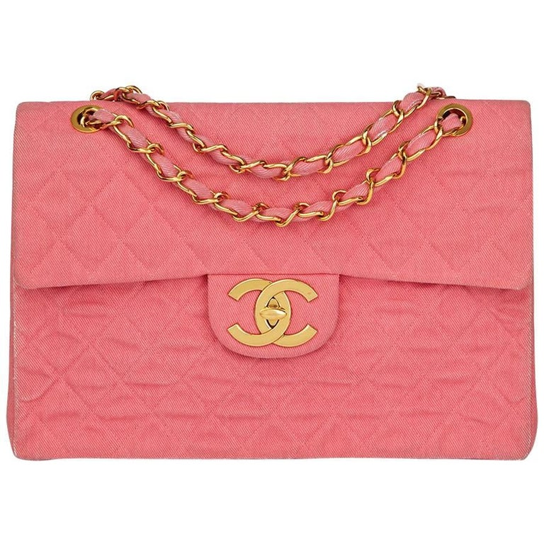 Chanel Pink Quilted Denim Vintage Maxi Jumbo XL Flap Bag, 1990s