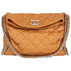 2010 Chanel Honey Beige Quilted Washed Lambskin Chain Around Hobo