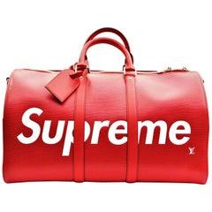 Louis Vuitton X Supreme Epi Keepall Bandouliere 45 Red