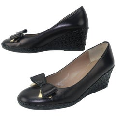 Bruno Magli Black Leather Wedge Shoes With Bow Tie Detail Sz 37