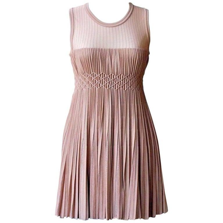 Azzedine Alaia Nude Pleated Knit Dress